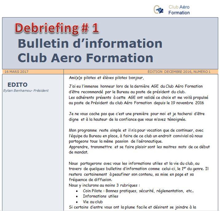 Briefing club aero formation